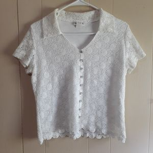 Vintage Anthropology Nicola white lace top vneck